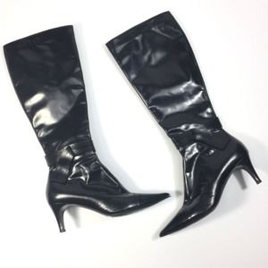 Bruno Magli 38 Boots Black Leather Pointy Toe